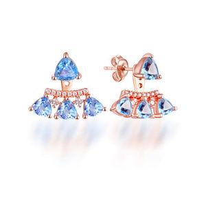 4mm/5mm Trillion Blue Topaz Silver Stud Earrings